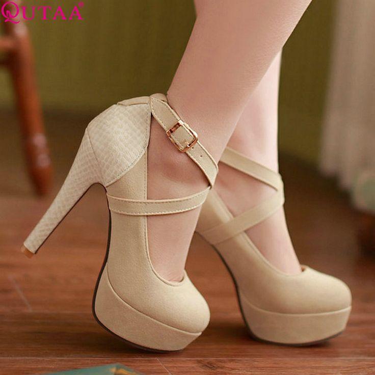 QUTAA Fashion Platform Women Pumps Sexy High Heeled Shoes Thin Heels Round Toe Platform Shoes Women's Wedding Shoes Size 34-42