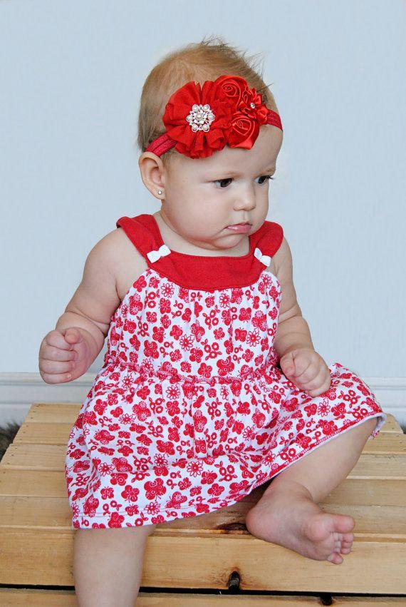 Super cute!!!  Red Baby headband, newborn girl fancy satin fabric headband, christmas bow on Etsy, $10.95
