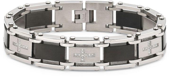 JCPenney FINE JEWELRY Men's Diamond Cross Bracelet Stainless Steel