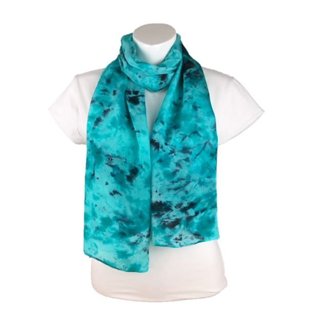Silk scarf, womens fashion scarf, hand dyed silk ,turquoise and black £20.00