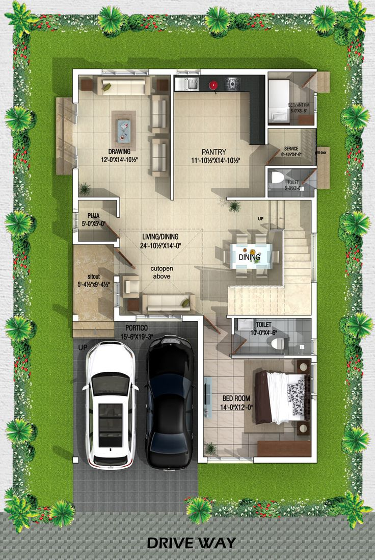 Type A West Facing Villa ground Floor plan 2bhk house