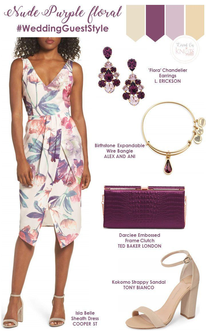 Nude and Purple floral wedding guest outfit.   Summer Wedding Floral Dresses  - KnotsVilla