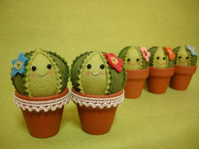 cacti pincushions so the pins look like the pricklies
