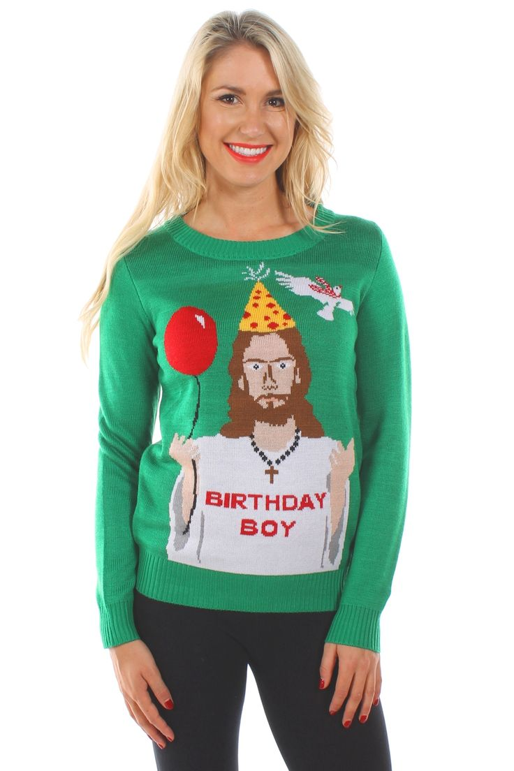 Wearing this funny (and slightly irreverent) Christmas sweater certainly reminds people of the reason for the season!
