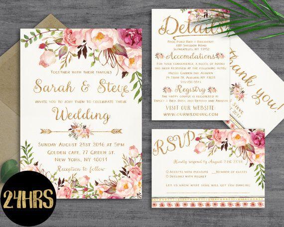 Floral Wedding Invitation Template Wedding Invitation Printable Wedding  Invites Set Wedding Invitations Set Printable Printable Invitations.  Hochzeit Deko ...