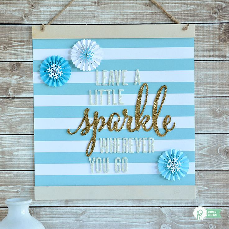 10 minute sparkle wall hanging by amanda coleman1 using pebblesinc winter wonderland and diy - Diy home decor ideas pinterest collection ...