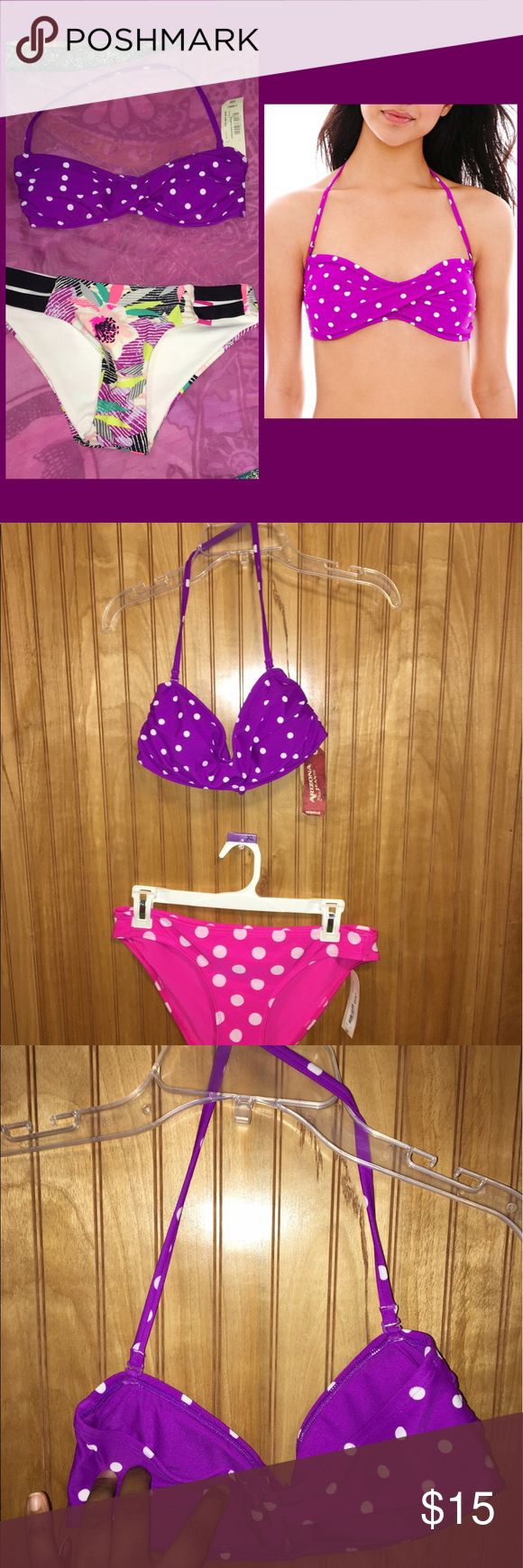 """BOGO 🆓Arizona Polka Dot Bandeau Bikini Top Sz XS Super cute bandeau Polka dot bikini top. Has light padding and adjustable and removeable halter. Size is XS, which is best for small bust (A or small B cup;30-32"""" Bust). NWT. Sz XS Arizona Jean Company Swim Bikinis"""