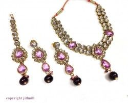 #Double String #Kundan Sets. Check out the beautiful range of colors at http://www.jillmill.com/kundan-designs/