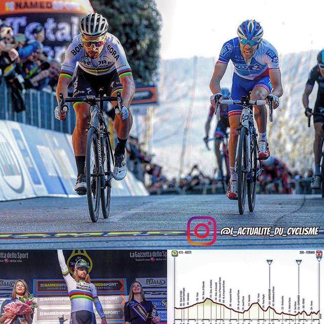 "Tirreno - Adriatico 2017 (World Tour)  5th stage :  1. Peter Sagan (Bora – Hansgrohe) the 209km in 5:00'05""  2. Thibaut Pinot (FDJ) s.t  3. Primož Roglič (LottoNL-Jumbo) s.t  4. Geraint Thomas (Team Sky) s.t  5. Bauke Mollema (Trek – Segafredo) s.t  6. Rigoberto Uran (Cannondale-Drapac Pro Cycling Team) s.t  7. Tom Dumoulin (Team Sunweb) s.t  8. Nairo Quintana (Movistar Team) s.t  9. Rohan Dennis (BMC Racing Team) s.t  10. Simon Špilak (Katusha – Alpecin) at 6"