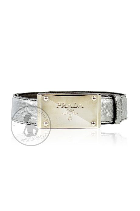 PRADA Silver Saffiano Leather Belt With Silver Buckle (Size 32 ...