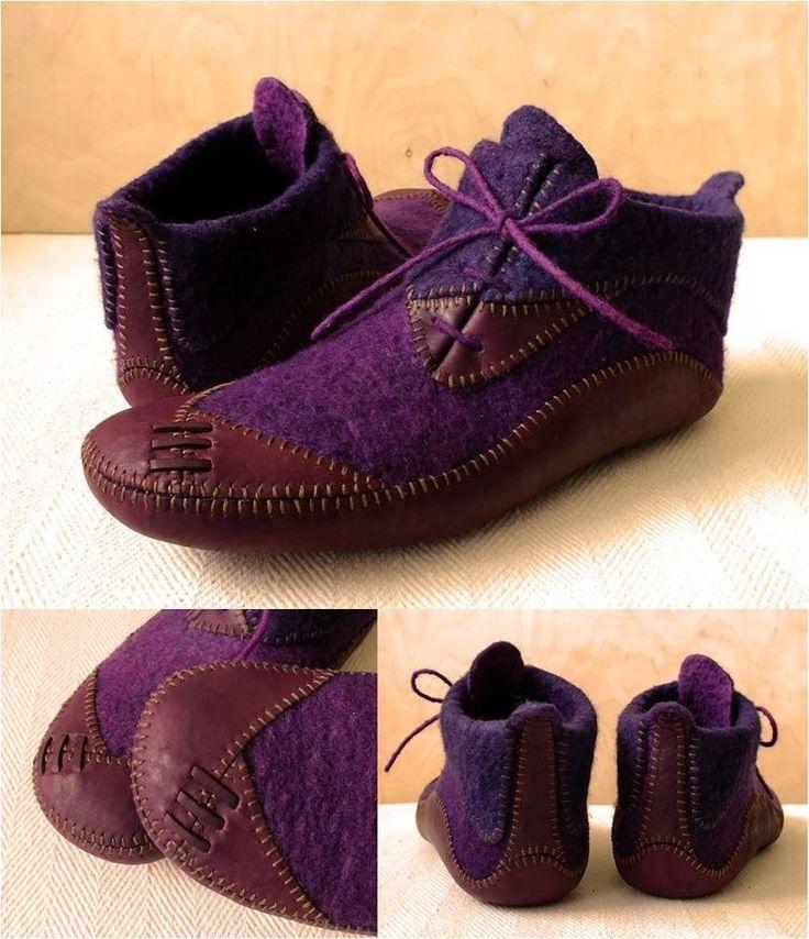 Felt and leather shoes made in Hungary. Boglarka Boczy.