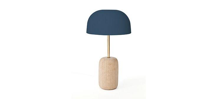 Lampe à poser Nina-tige laiton et abat jour bleu gris