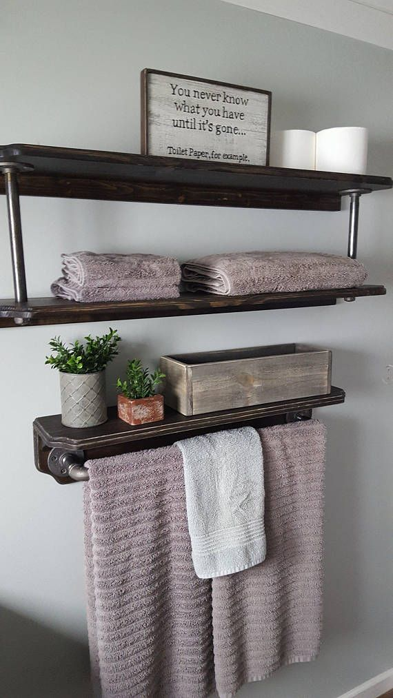 Farmhouse 18 wide shelf with industrial pipe towel bar