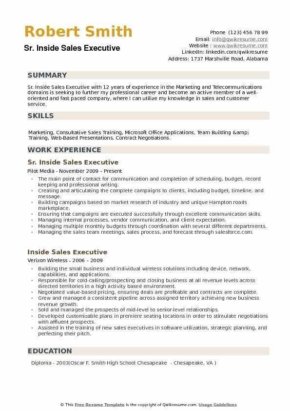 Inside Sales Executive Resume Samples Qwikresume