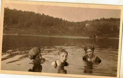 Antique photograh three people swimming in lake wearing great bathing caps Selling on ebay