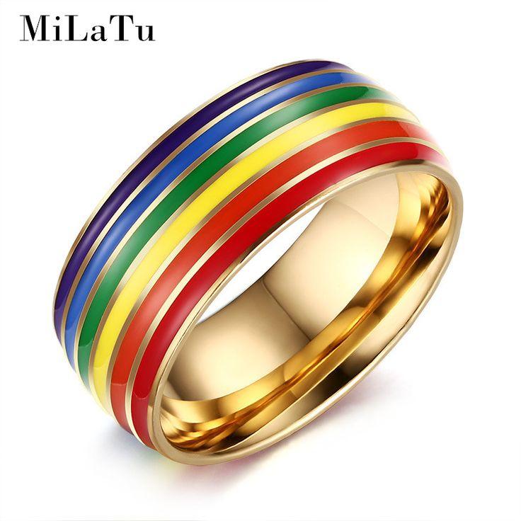 MiLaTu 스테인레스 스틸 게이 프라이드 반지 남성 무지개 보석 골드 & 실버 컬러 약혼 반지 남성 보석 R362G