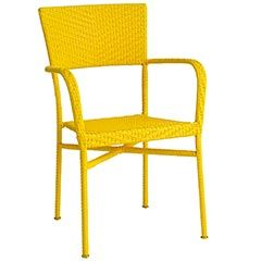 Fun Yellow chairs for outdoor dining. Pair with old rustic farmhouse table.