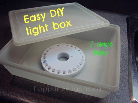 Make an easy, inexpensive homemade light box using 2 simple items that you may already have aound the house: a plastic storage container and an LED light.