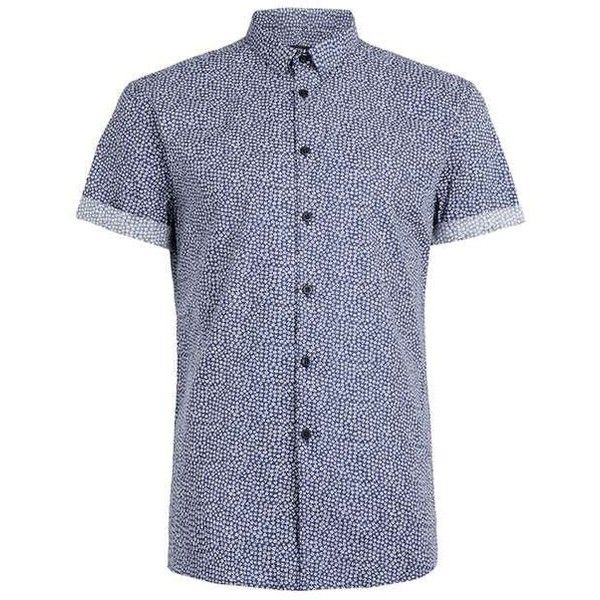 Blue Mini Floral Print Short Sleeve Dress Shirt - Topman ($50) ❤ liked on Polyvore featuring men's fashion, men's clothing, men's shirts, mens floral print dress shirt, mens blue dress shirt, mens floral shirts, mens floral dress shirt and mens short sleeve dress shirts