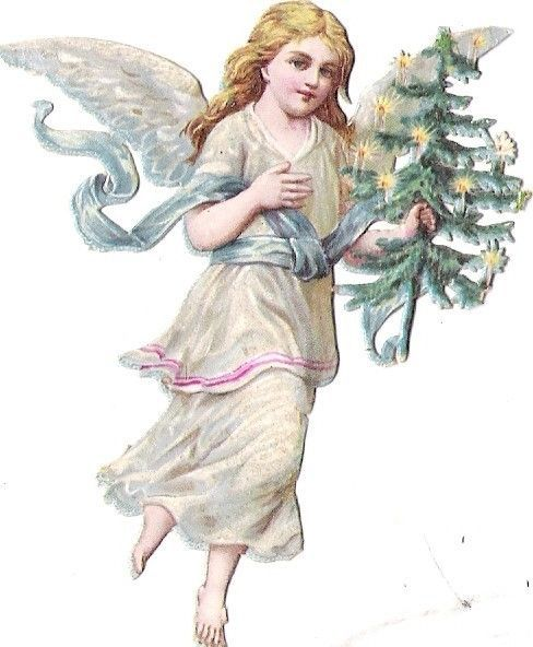 Oblaten Glanzbild scrap die cut chromo Glitzer Engel angel cherub XMAS tree MICA: