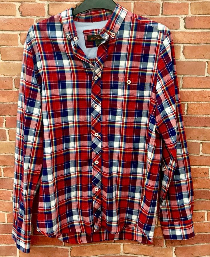 Original Ben Sherman Men's Long Sleeve Checked Button Up Shirt Size S VGC Top