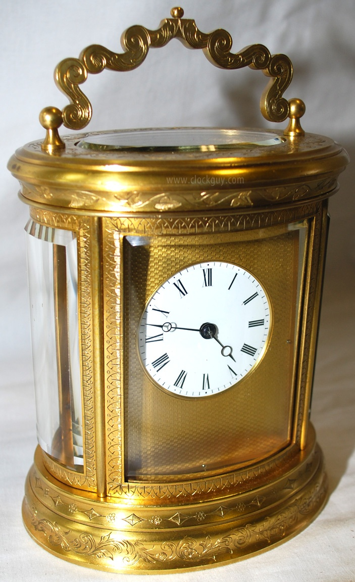 Vintage industrial clock double sided factory clock brilli 233 - French Oval Carriage Clock With Engraved Dial Surround C 1890
