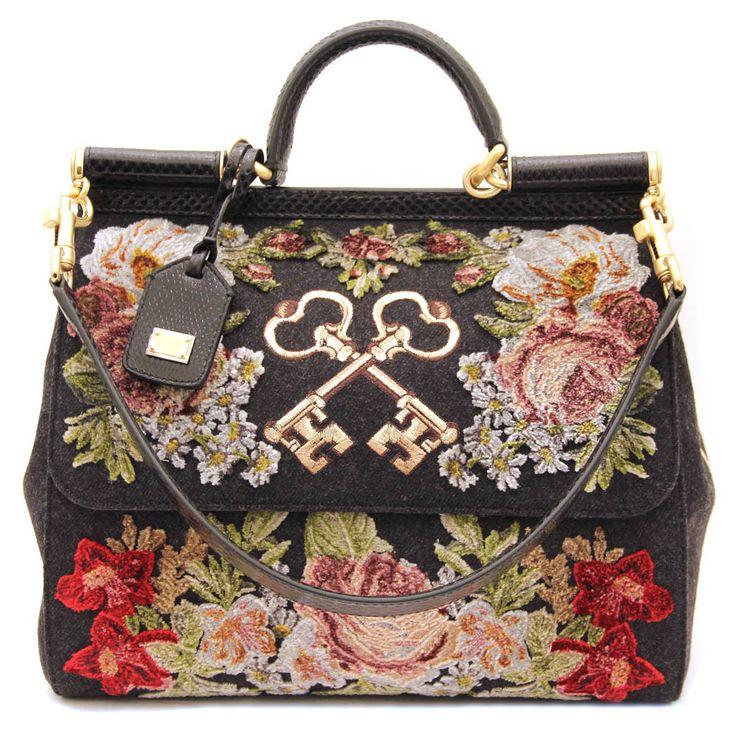 Dolce gabbana rose key embroidered velvet sicily bag