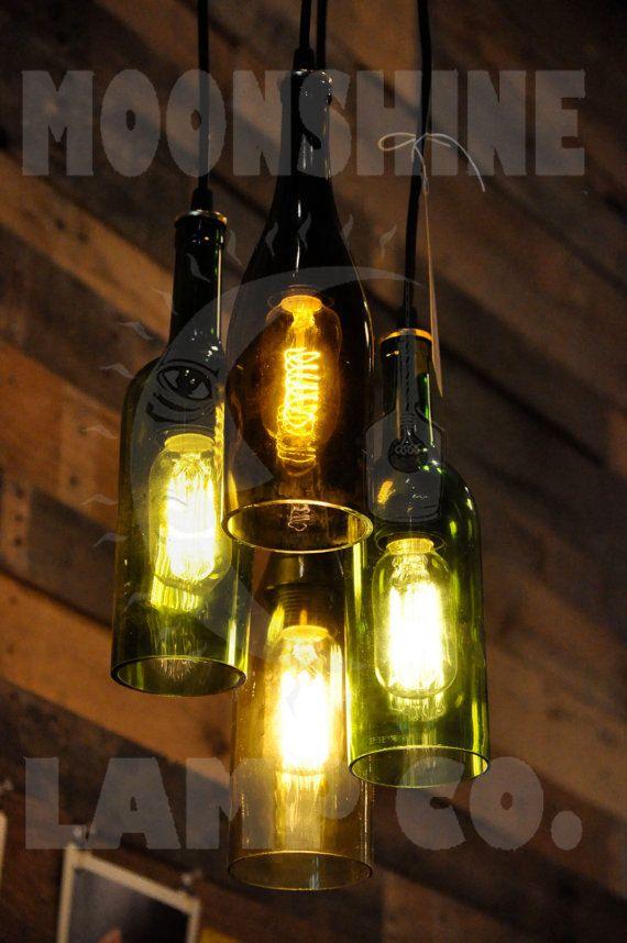 4-light kroonluchter gerecycleerd wijnfles hanglamp opknoping fles licht