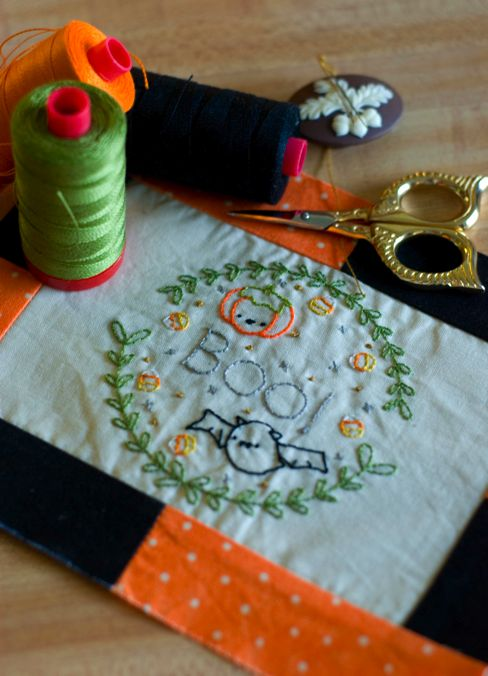 Oh, so adorable Halloween embroidery (with link to free pattern) by Amanda Woodward Jennings
