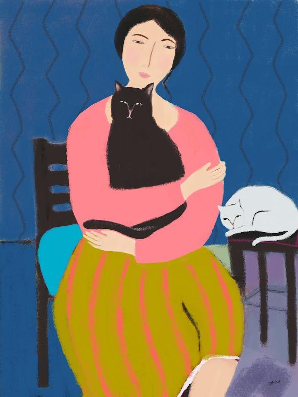 Barbara Perrine Chu---    Woman with Two Cats