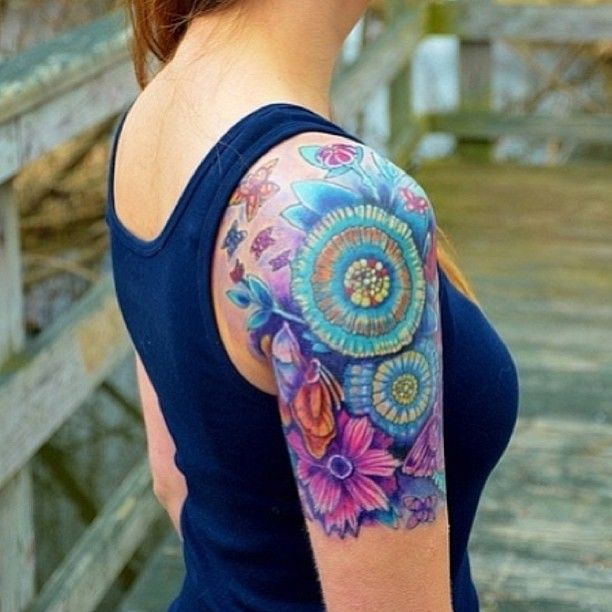 Unique Shoulder Tattoos for Women | Colorful Unique flower sleeve woman's tattoo | Uncategorized tattoos ...