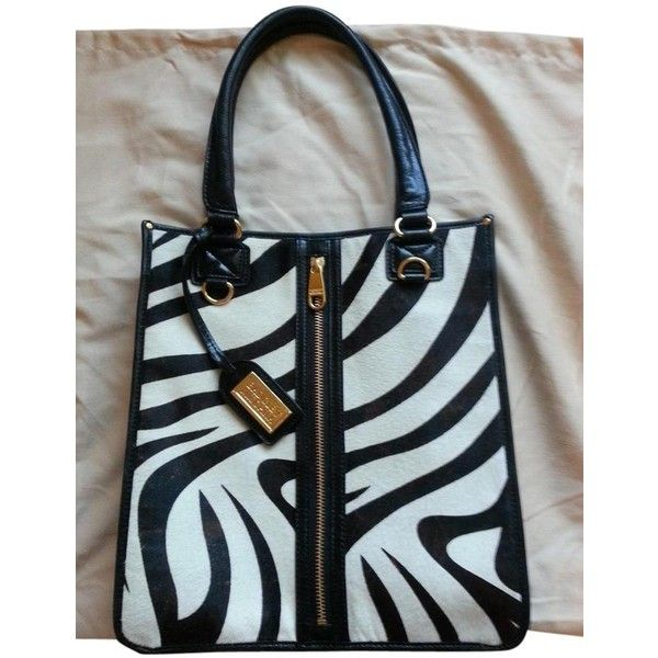 Pre-owned Badgley Mischka Black And White Zebra Print Tote Bag (£145) ❤ liked on Polyvore featuring bags, handbags, tote bags, black and white zebra print, gold tote, tote handbags, handbags totes, gold tote bag and zebra tote bag