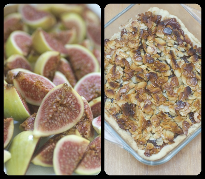 Fig cake with cassis liqueur and honey coated almonds