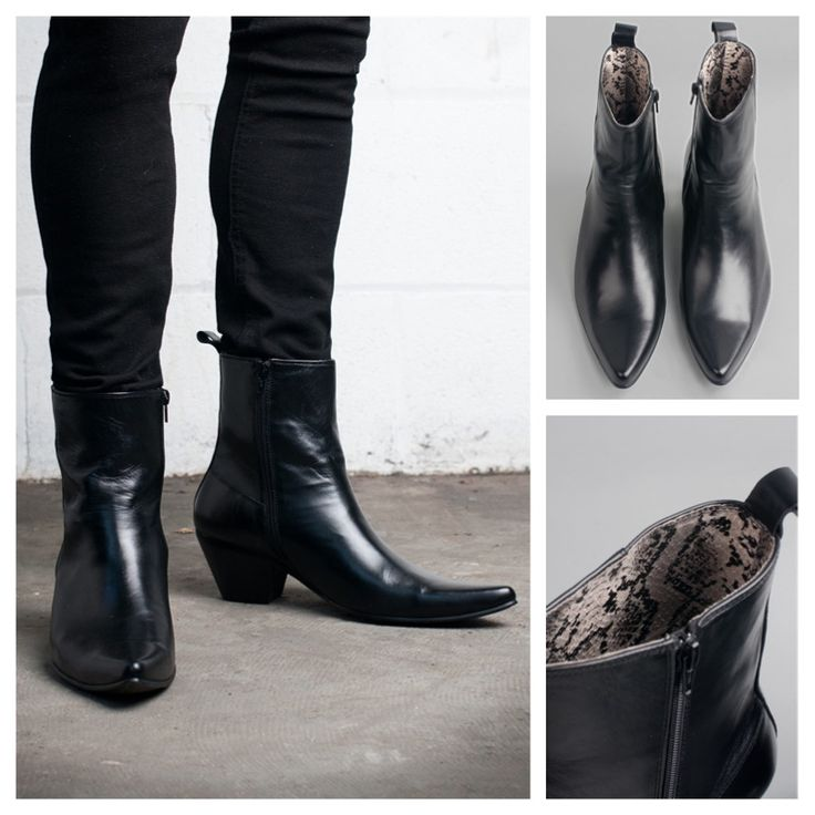 Todays Fashion Fix: Kid Leather Blamens Winklepicker Boot Zip Cuban Heel Black... £89.00