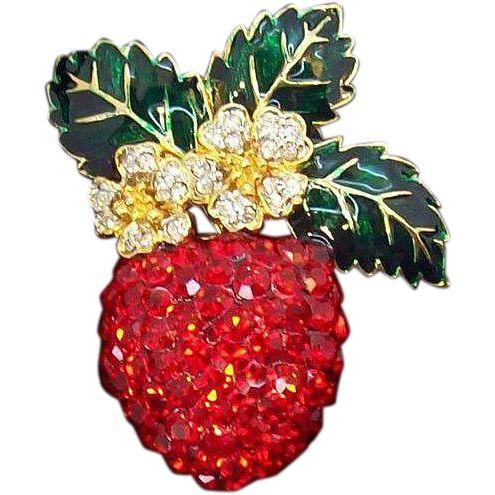 Vintage 3-Dimensional Large  Red Rhinestone Strawberry Brooch