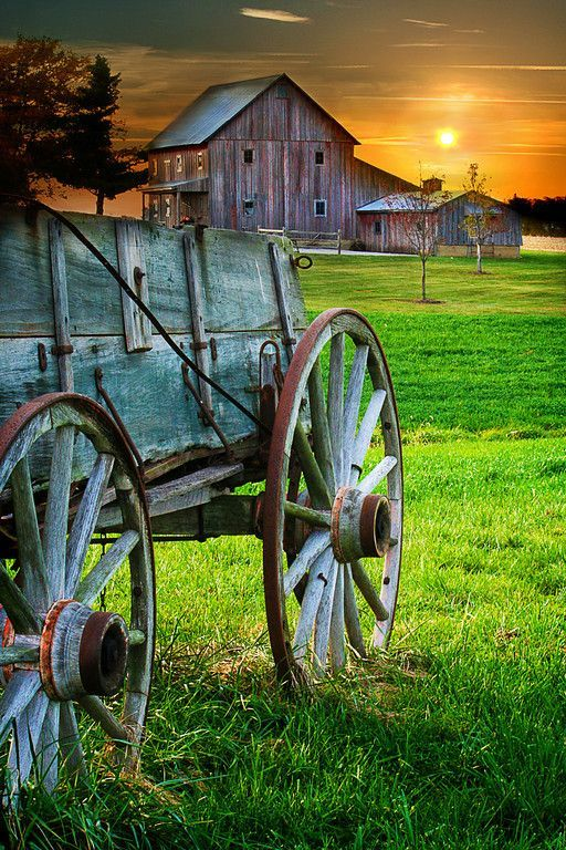 Old Barn and Wagon ~ sunset in Lexington, Illinois.