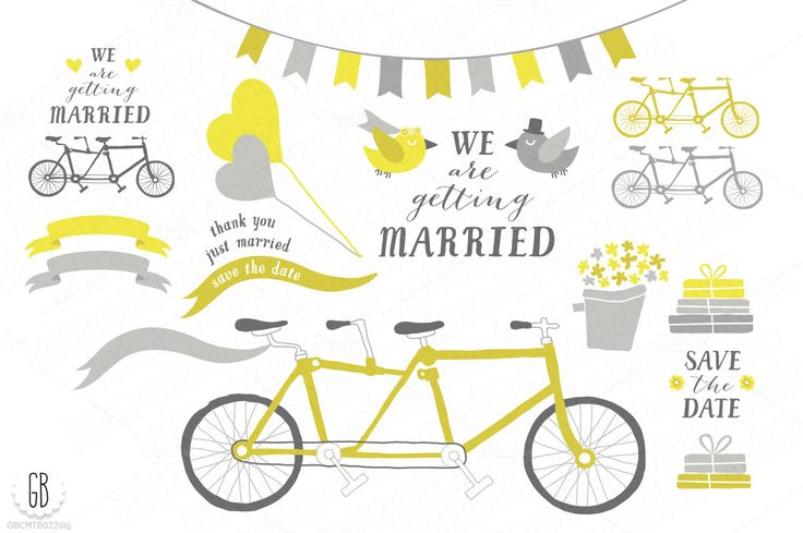 Tandem bicycle, wedding, gray yellow by GrafikBoutique on Creative Market