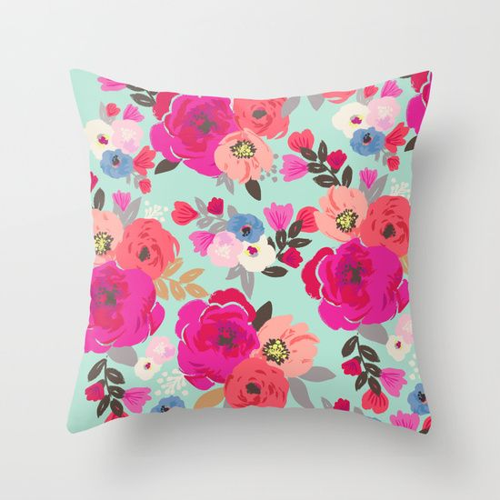 Colorful Bright Floral poppies aqua Throw Pillow home decor patio decor $20+ @society6