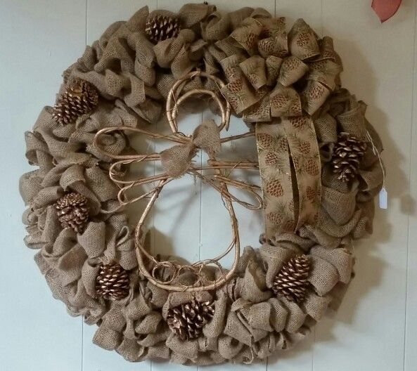 Burlap Ribbon Wreath With Gold Pinecones And Burlap