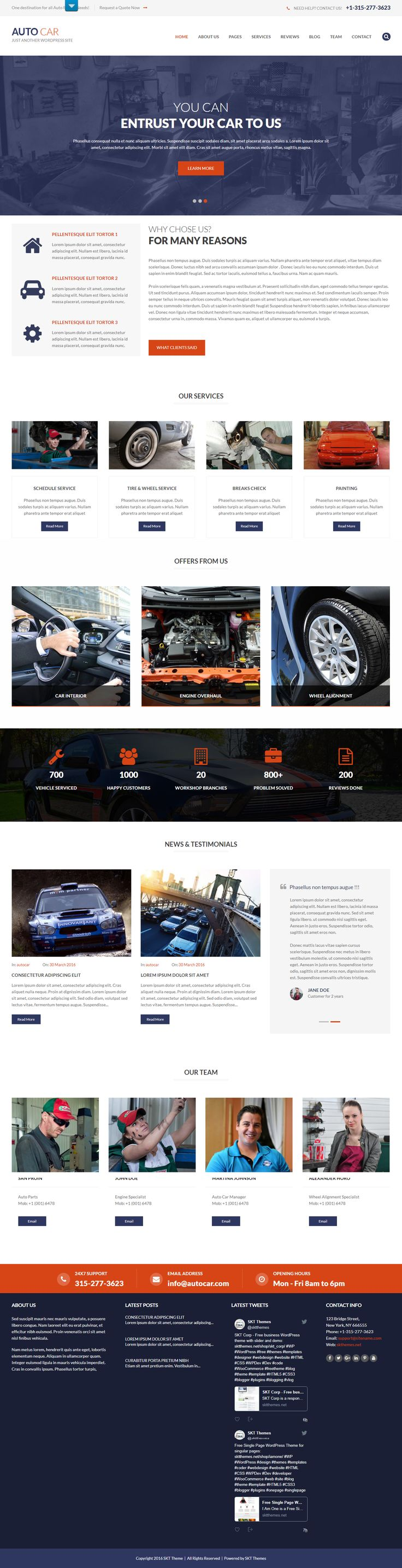 Free Mechanic WordPress Themes for Car Repair Websites