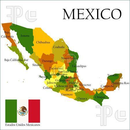 Este es una mapa de Mexico-el pais de habla español mas grande.
