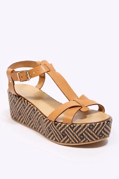 Deena & Ozzy Tan T-Bar Wedge Sandals