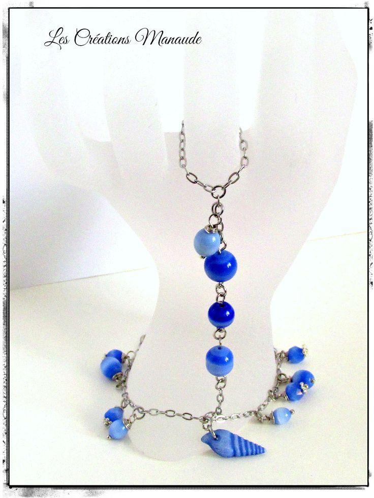 Bracelet chaîne acier inoxydable et bille œil de chat bleu mer , breloque coquillage œil de chat  20$
