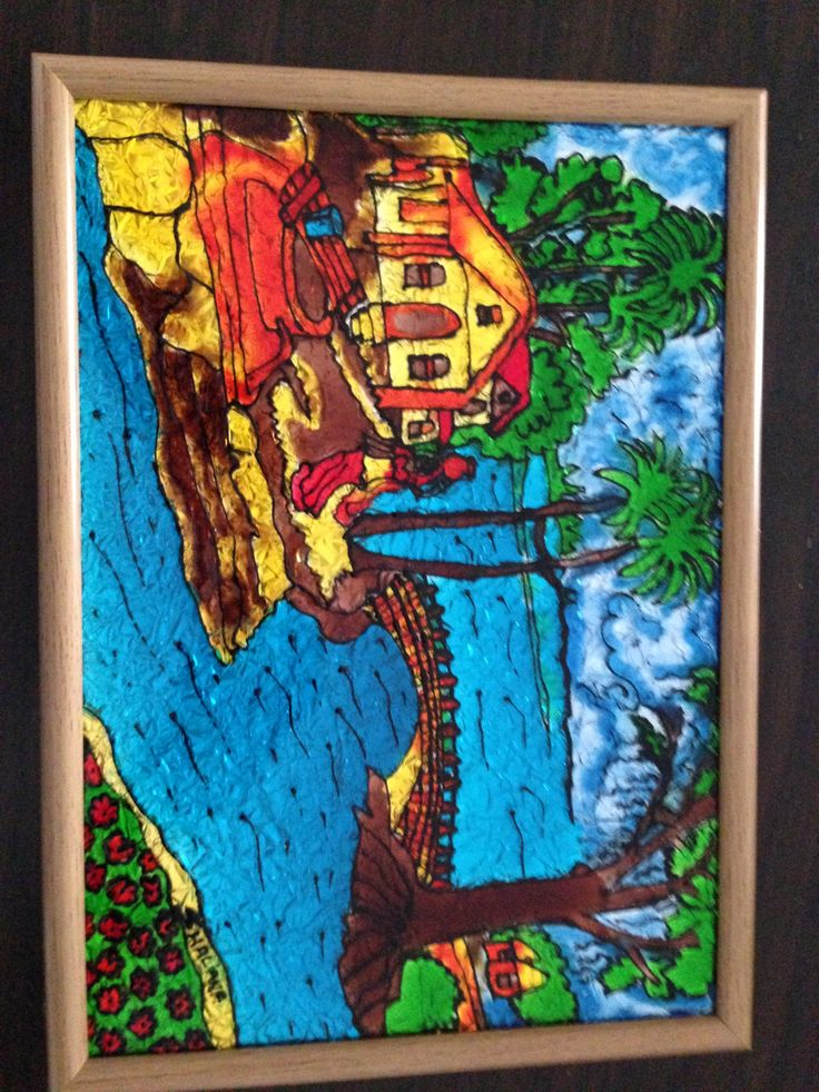 village scenery glass painting my glass painting