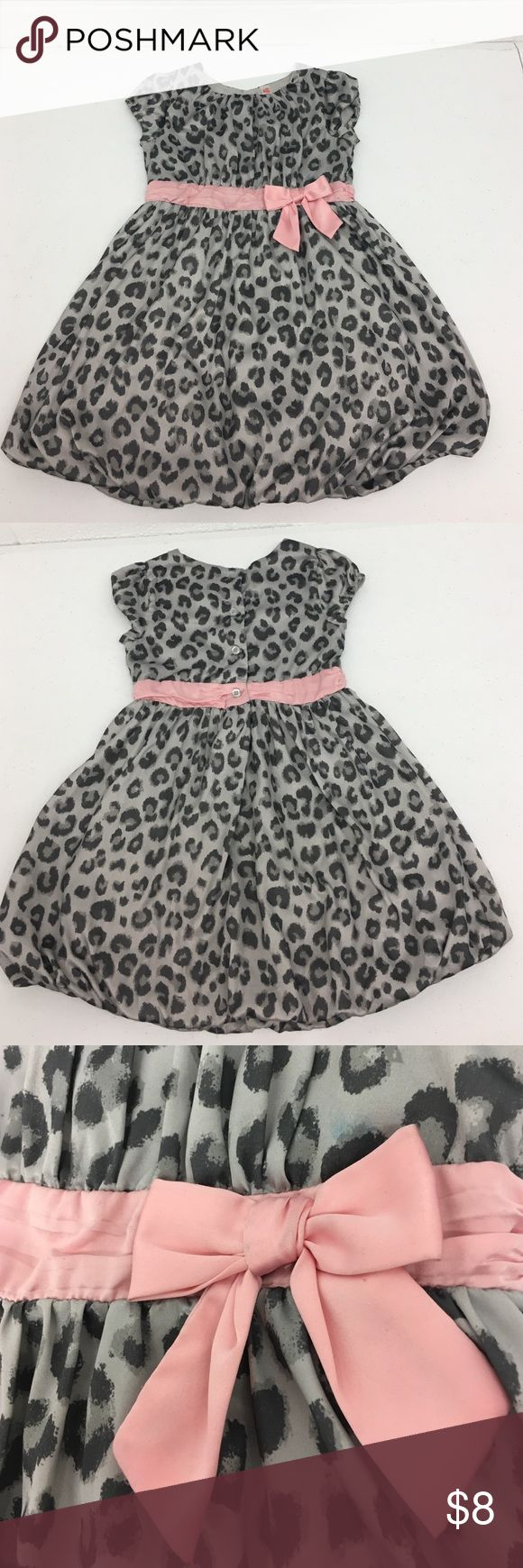 Grey Cheetah Dress Gray cheetah dress with pink bow Cherokee Dresses Formal