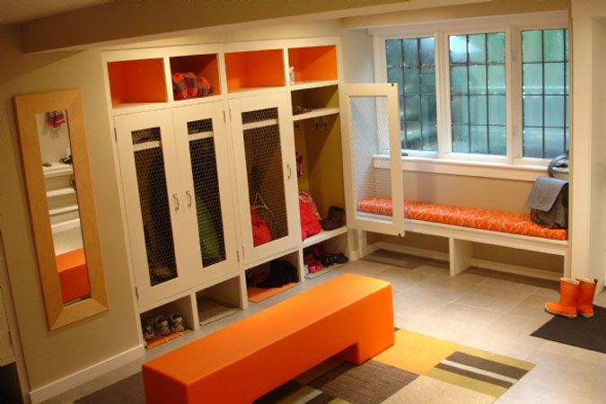 I like that narrow wall window seat with the cubbies below - maybe we could do that in our narrow hall by garage