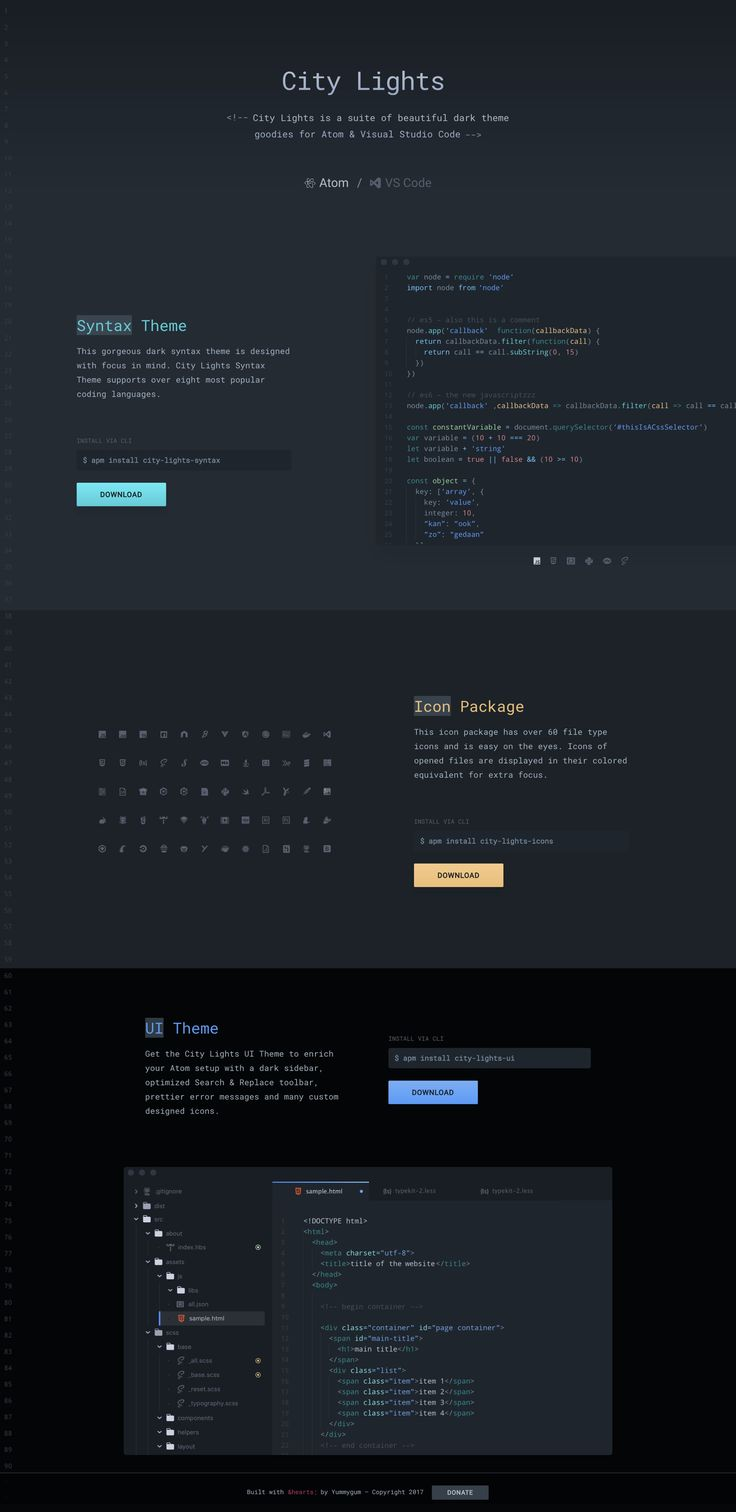 Random colors website - Lovely One Pager From The Yummygum Team Showcasing Beautiful Dark Themes They Designed For Atom Visual Studio Code Awesome Added Touch With The Coding