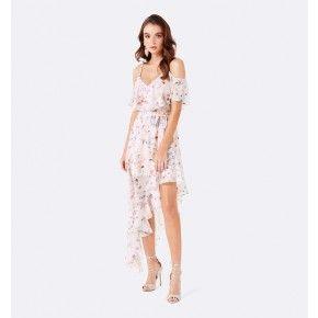 Bianca Çiçekli Düşük Omuz Asimetrik Elbise