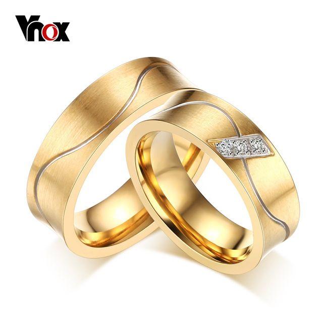 Moda de Casamento Anéis de Noivado Para As Mulheres/Homens 18 K Banhado A Ouro Com Anel de Zircônia