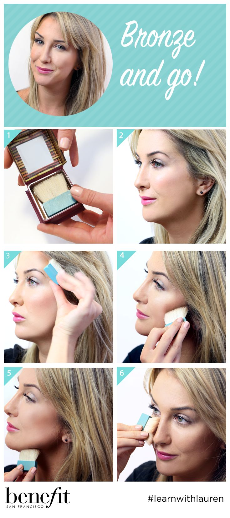 """Contour in all the right places! Make an """"E"""" shape with your hoola bronzer to catch where the sun would naturally tan your face! Then, slim down the nose with a swipe of product! LOVE hoola? You can now get yours personalised exclusively at https://www.benefitcosmetics.co.uk/product/view/personalised-hoola?ext_id=S15_PT_Hoolaxmas_301115"""